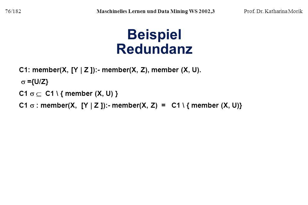 Beispiel Redundanz C1: member(X, [Y | Z ]):- member(X, Z), member (X, U). s ={U/Z} C1 s  C1 \ { member (X, U) }